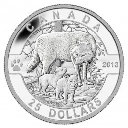 2013 Canadian $25 O Canada Series: The Wolf - 1 oz Fine Silver Coin