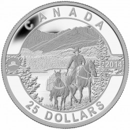 2014 Canadian $25 O Canada Series: Cowboy in the Canadian Rockies - 1 oz Fine Silver Coin