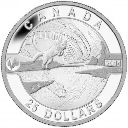 2014 Canadian $25 O Canada Series: Arctic Fox and the Northern Lights - 1 oz Fine Silver Coin