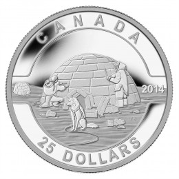 2014 Canadian $25 O Canada Series: Igloo - 1 oz Fine Silver Coin
