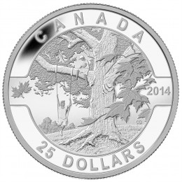 2014 Canadian $25 O Canada Series: Under the Maple Tree - 1 oz Fine Silver Coin