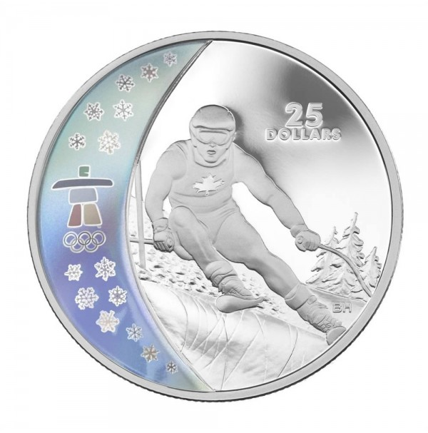2007 Sterling Silver 25 Dollar Coin - Vancouver 2010 Olympic Winter Games: Alpine Skiing