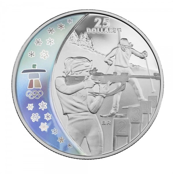 2007 Sterling Silver 25 Dollar Coin - Vancouver 2010 Olympic Winter Games: Biathlon