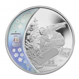 2008 Canada Sterling Silver $25 Coin - Vancouver 2010 Olympic Winter Games: Snowboarding