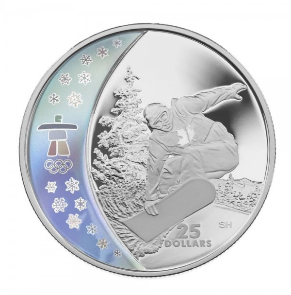 2008 Sterling Silver 25 Dollar Coin - Vancouver 2010 Olympic Winter Games: Snowboarding