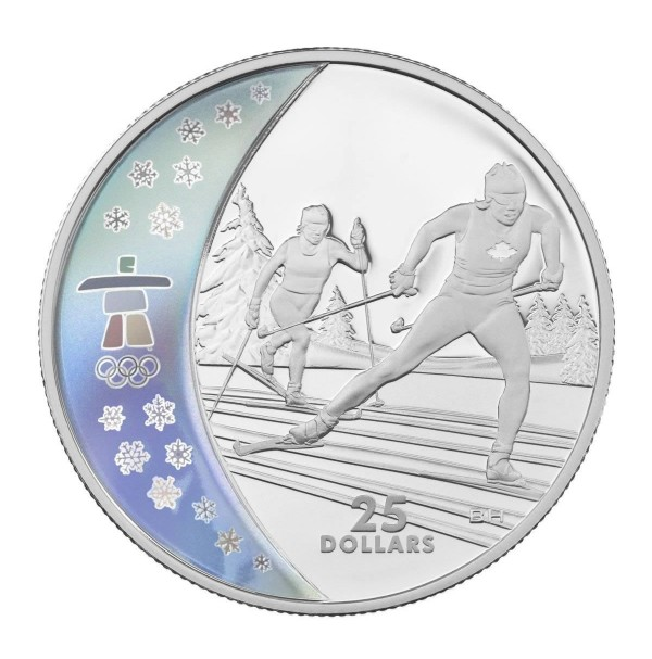 2009 Sterling Silver 25 Dollar Coin - Vancouver 2010 Olympic Winter Games: Cross Country Skiing