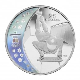 2009 Canada Sterling Silver $25 Coin - Vancouver 2010 Olympic Winter Games: Skeleton