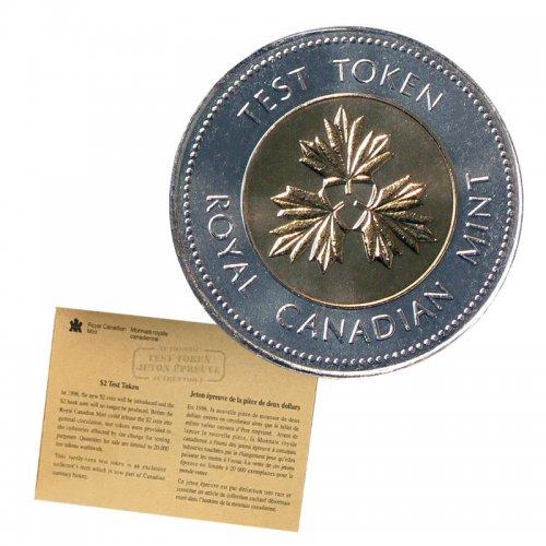 1996 Canadian $2 Certified Test Token Toonie & COA