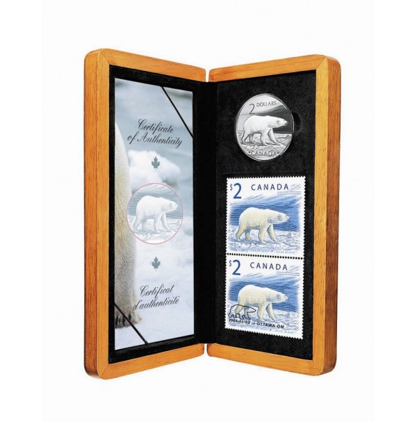 2004 Sterling Silver 2 Dollar Coin & Stamp Set - Proud Polar Bear