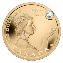 2012 (1952-) Canadian $300 The Queen's Diamond Jubilee Pure Gold & Diamond Coin