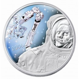 2006 Canadian $30 Achievements: Canadarm/Colonel Hadfield 5th Anniv Proof Sterling Silver Hologram Coin