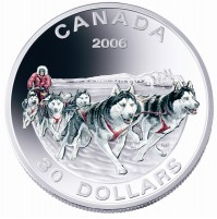 2006 Sterling Silver 30 Dollar Coin - Dog Sled Team