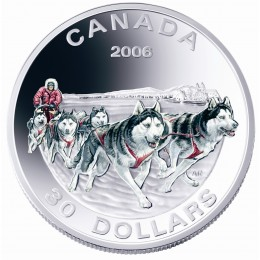 2006 Canada Sterling Silver $30 Coin - Dog Sled Team (Coloured)