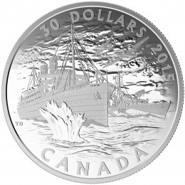 2015 Canadian $30 Canada's Merchant Navy in the Battle of the Atlantic - 2 oz Fine Silver Coin