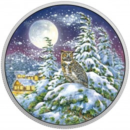 2017 Canada Fine Silver $30 Coin - Animals in the Moonlight: Great Horned Owl