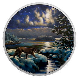 2017 Canadian $30 Animals in the Moonlight: Cougar 2 oz Fine Silver Coloured Coin (Glow-in-the-Dark)