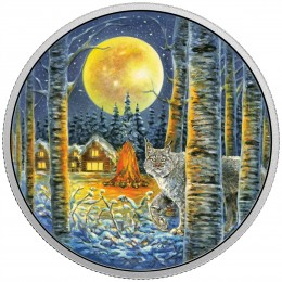 2017 Canada Fine Silver $30 Coin - Animals in the Moonlight: Lynx