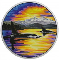 2017 Fine Silver 30 Dollar Coin - Animals in the Moonlight: Orcas