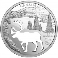 2017 Fine Silver 30 Dollar Coin - Endangered Animal Cutout: Woodland Caribou