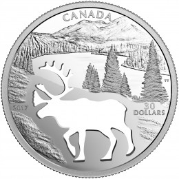 2017 Canada Fine Silver $30 Coin - Endangered Animal Cutout: Woodland Caribou