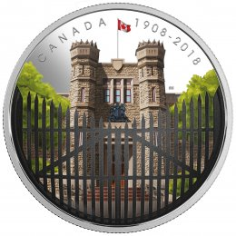 2018 (1908-) Canadian $30 Gates: Royal Canadian Mint 110th Anniv 2 oz Fine Silver Convex Coloured Coin