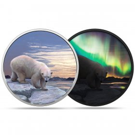 2018 Canadian $30 Arctic Animals and Northern Lights: Polar Bear - 2 oz Fine Silver Coin (Glow-in-the-Dark)