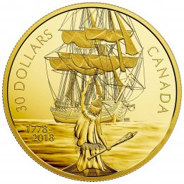 2018 (1778-) Canadian $30 Captain Cook and the HMS Resolution 2 oz Fine Silver & Gold-plated Coin-coin in capsule only