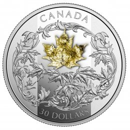 2018 Canadian $30 Falling Gold Maple Leaf - 2 oz Fine Silver & 18-karat Gold 3D Coin