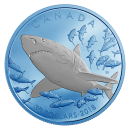 2018 Canadian $30 Great White Shark with Blue Rhodium Plating 2 oz Fine Silver Coin