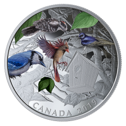 2019 Canadian $30 Birds in the Backyard - 2 oz Fine Silver Coloured Coin