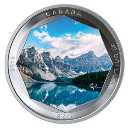 2019 Canadian $30 Peter McKinnon Photo Series: Moraine Lake 2 oz Fine Silver Coloured Coin