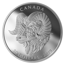 2019 Canadian $30 Zentangle Art: Bighorn Sheep - 2 oz Fine Silver Coin
