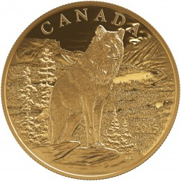 2015 Canadian $350 Imposing Alpha Wolf 99.999% Pure Gold Coin