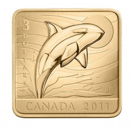 2011 Canadian $3 Wildlife Conservation Series: Orca Whale Sterling Silver Gold-plated Square Coin-no outer box