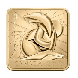 2010 Canadian $3 Wildlife Conservation Series: Polar Bear Sterling Silver Gold-plated Square Coin-no outer box