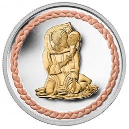 2011 Canada Fine Silver $3 Coin - Aboriginal Art: Family Scene
