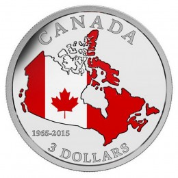 2015 Canada Fine Silver 3 Dollar Coin - 50th Anniversary of the Canadian Flag