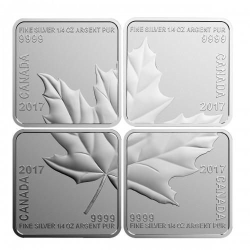 2017 Canadian $3 Maple Leaf Quartet - Fine Silver 4-Coin Set-coins lightly tarnished