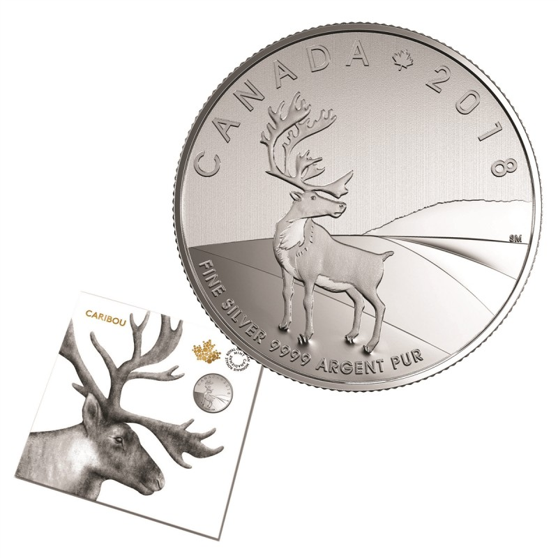 2018 Canadian 3 Caribou 1 4 Oz Fine Silver Coin