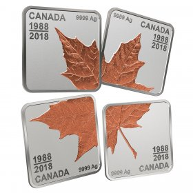 2018 (1988-) Canadian $3 Maple Leaf Quartet: Thirty Years - Fine Silver 4-Coin Set