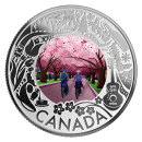 2019 Canadian $3 Cherry Blossoms: Celebrating Canadian Fun and Festivities - Fine Silver Coloured Coin