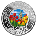 2019 Canadian $3 Tulips: Celebrating Canadian Fun and Festivities - Fine Silver Coloured Coin