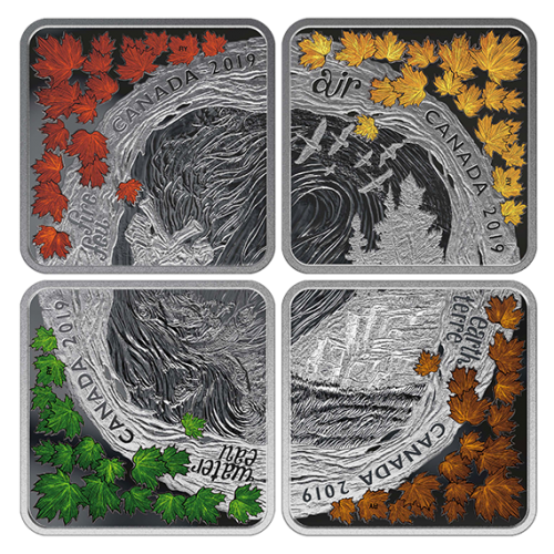 2019 Canadian $3 The Elements - Fine Silver Coloured 4-Coin Set