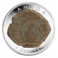 2007 Fine Silver 4 Dollar Coin - Parasaurolophus