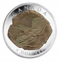 2008 Fine Silver 4 Dollar Coin - Triceratops
