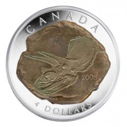 2008 Canadian $4 Fossilized Dinosaur: Triceratops Fine Silver Coin
