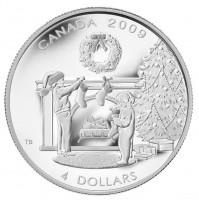 2009 Fine Silver 4 Dollar Coin - Hanging the Stockings