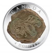 2009 Fine Silver 4 Dollar Coin - Tyrannosaurus Rex