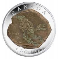 2010 Fine Silver 4 Dollar Coin - Dromaeosaurus