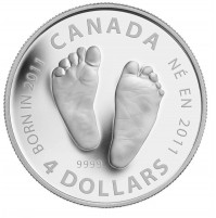 2011 Fine Silver 4 Dollar Coin - Welcome to the World